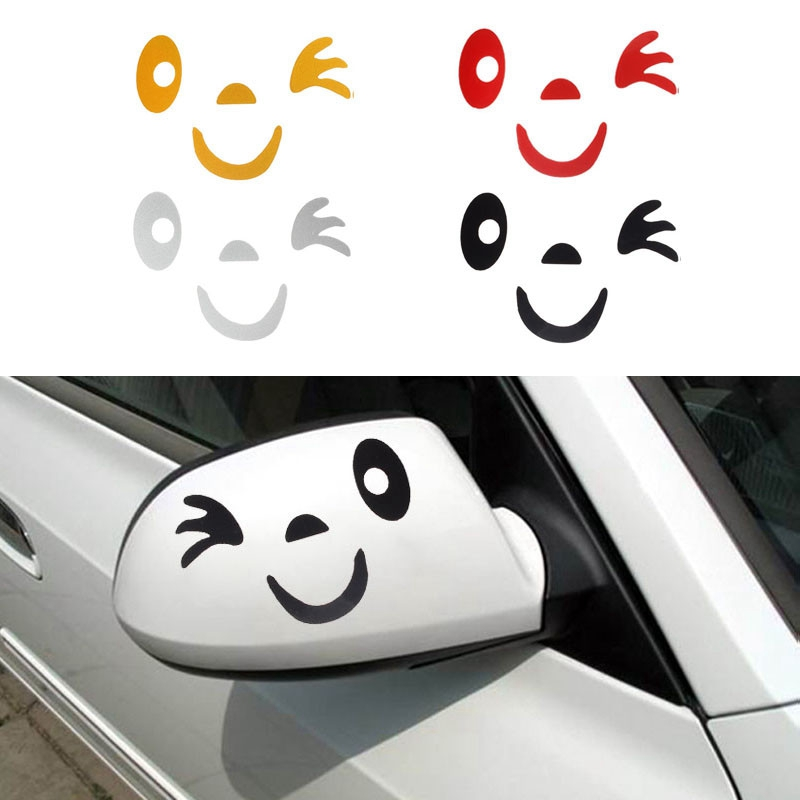 Smile Face Design Strong Visual Impact 3D Decoration Sticker For Car Side Mirror Rearview  DIY Your Own Personalized Car@11219@@