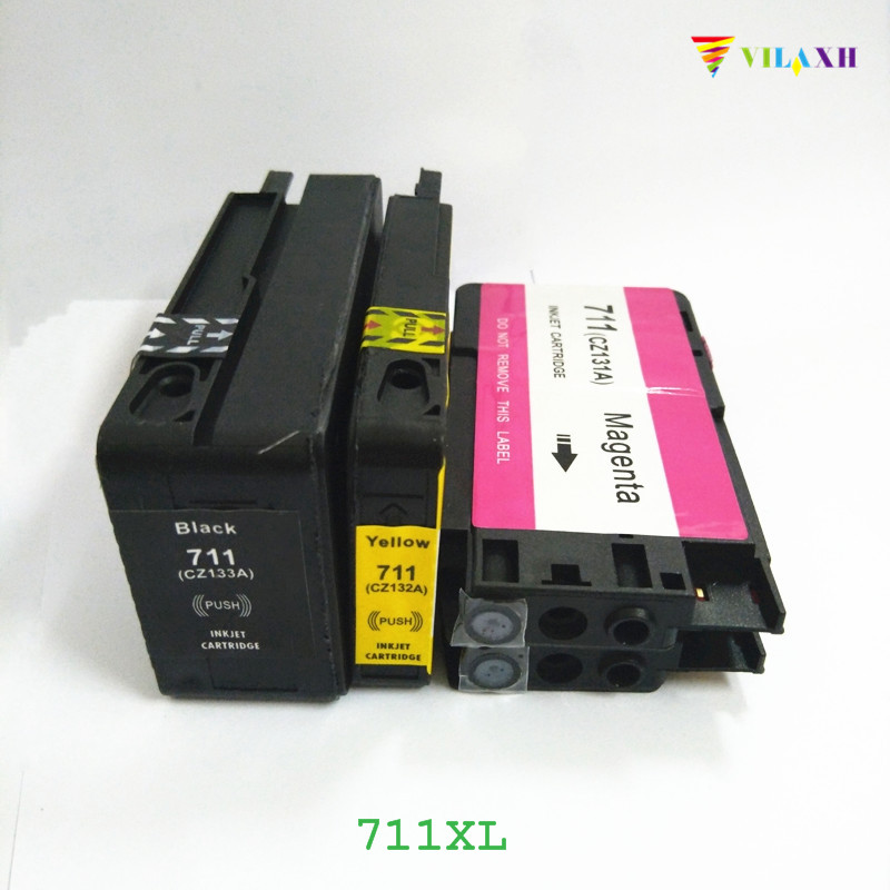 vilaxh 711 Compatible Ink Cartridge Replacement for HP 711 XL 711xl for Designjet T120 T520 Printer With Chip cz133a printer картридж hp designjet 711 черный black 80 мл cz133a