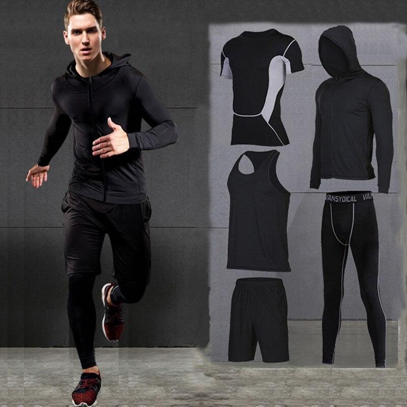 2017 hiver en plein air séchage rapide ensembles de course hommes Compression Sports costumes Jogging basket ball collants vêtements Gym Fitness Sportswear - 3