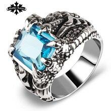 Artificiruby сапфир коготь дракон искусственный vintage палец кольца кристалл нержавеющей стали