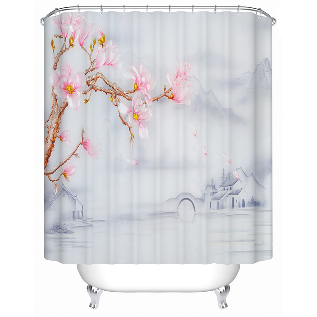 pink grey shower curtain. Classic Chinese Pattern Bridge and Floral Pink Grey Shower Curtain  Polyester Fabric Design Set