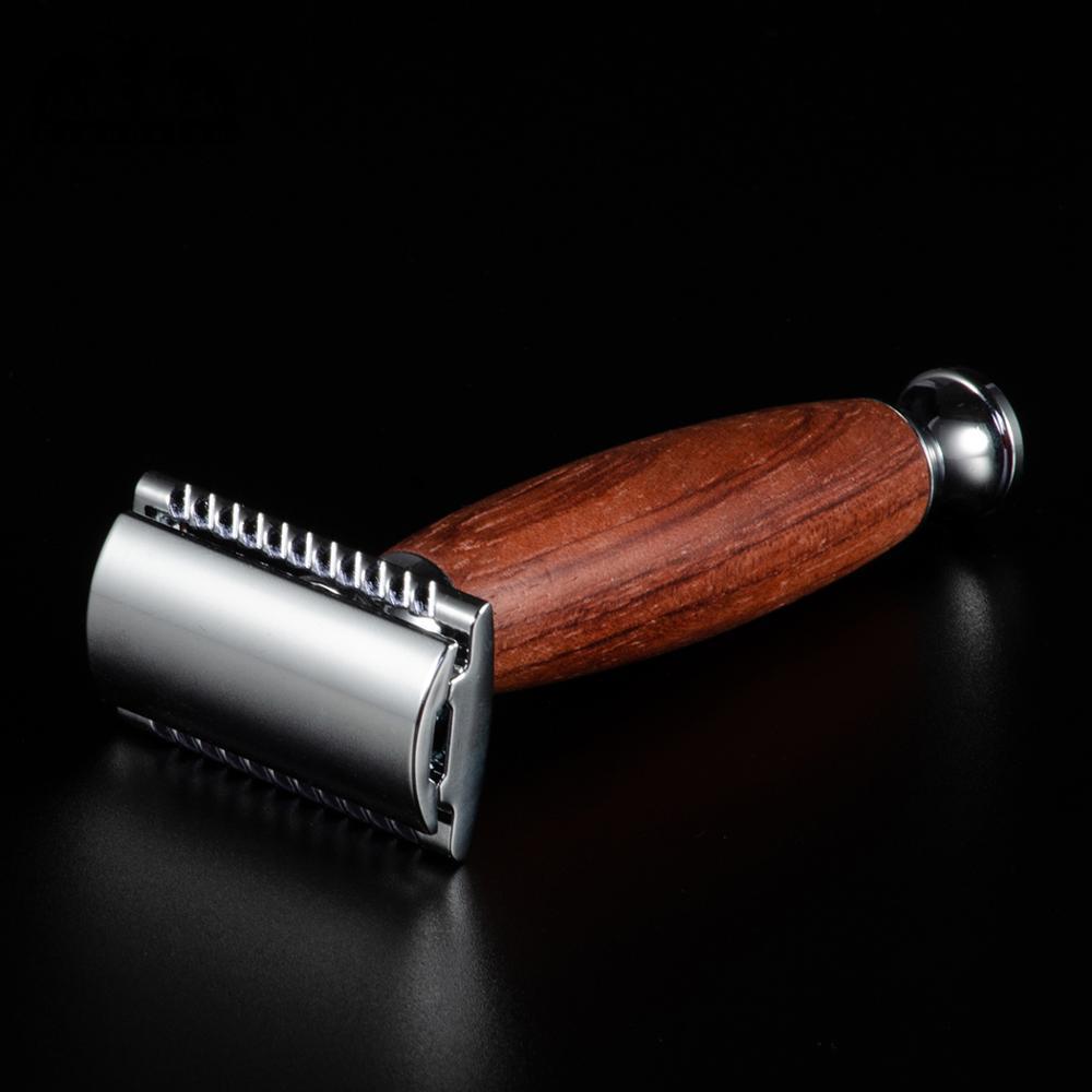 Grandslam palissandre lame de rasage rasoir de sécurité coffret cadeau meilleur blaireau cheveux rasage brosse Kit rasoir manuel socle pour rasoir Kits de support - 5