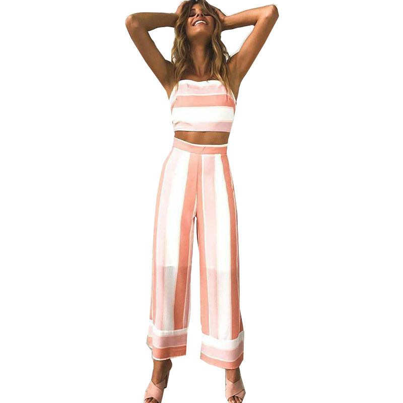 New women jumpsuit 2019 Fashion bow Print Stripe Sling