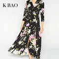 Vintage Women dress Bohemia Flower Long Maxi Dress Spring Turn-down Collar Three-Quarter Sleeve Women Vestido Black