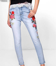 M0417Z1 Europe 2017 new summer fashion embroidery embroidered denim trousers leg feet 201 0418