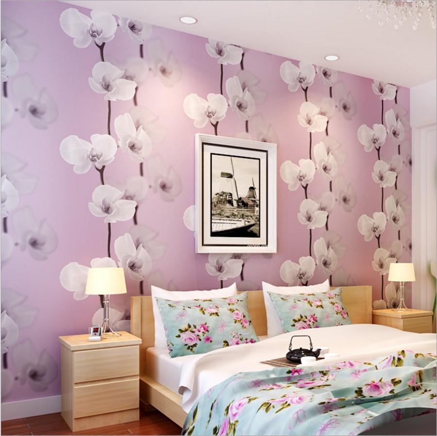 Purple Flower Wallpaper For Bedroom Aliexpresscom Buy Beautiful Sweet Big Flowers 3d Wallpaper