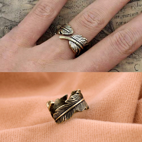 Vintage Feather General Charms Retro Jewelry Punk Fashion Rings For Women  R062TN-2