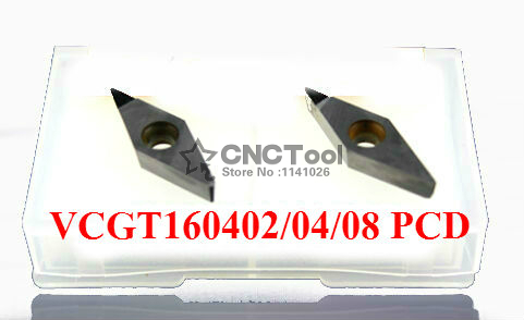 2pcs VCGT160408 PCD carbide inserst for Aluminum Polycrystalline diamond tools