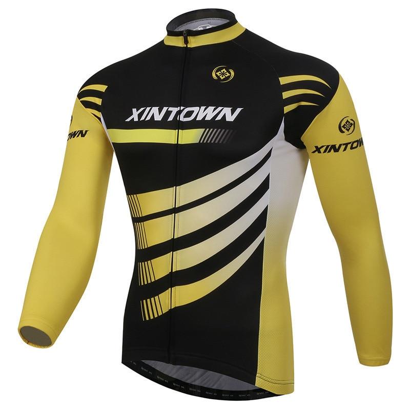 XINTOWN Riding Bike Jacket Mens Long Jersey Winter Cycling Jacket Lens Ergonomic Design UV Protection Fleece Thermal Yellow