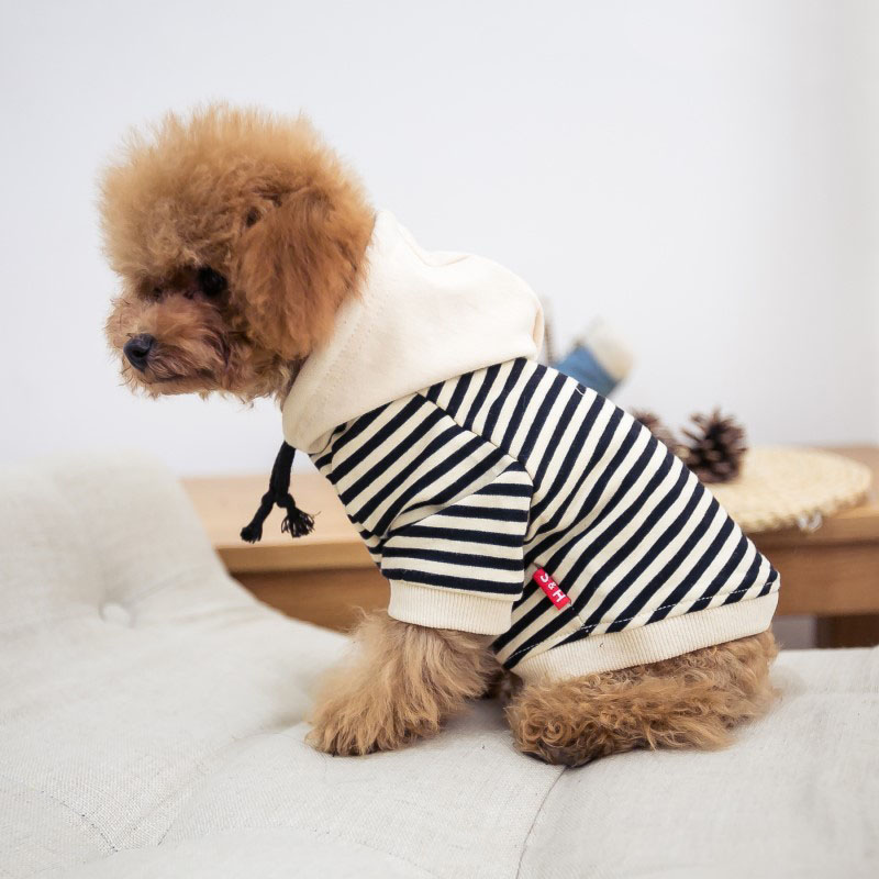 Striped Dog Clothes For Small Dogs French Bulldog Coat Cotton Hoodies for Chihuahua Yorkshire Fashion Pet Clothes for Puppy 4XL