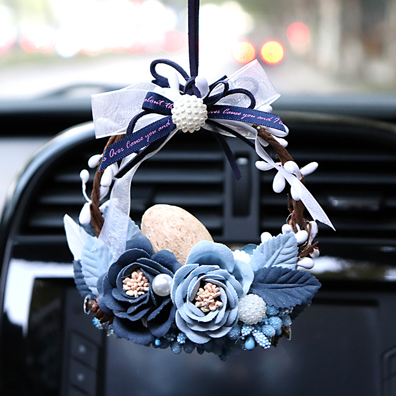 Beautiful Flower For Women Car Rearview Mirror Hanging Pendant 5 Style Choose Car Interior Toys Ornaments Auto Decoration Gift
