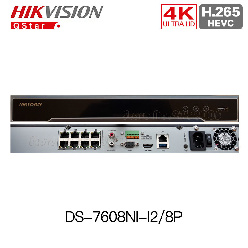 Hikvision Hik 4K H.265 POE NVR DS-7608NI-I2/8P 2SATA 8 POE 8ch NVR support third-party camera up to 12MP ip camera CCTV system 4pcs hikvision surveillance camera ds 2cd2155fwd i 5mp h 265 dome cctv ip camera hikvision nvr ds 7608ni i2 8p 8ch 8ports poe