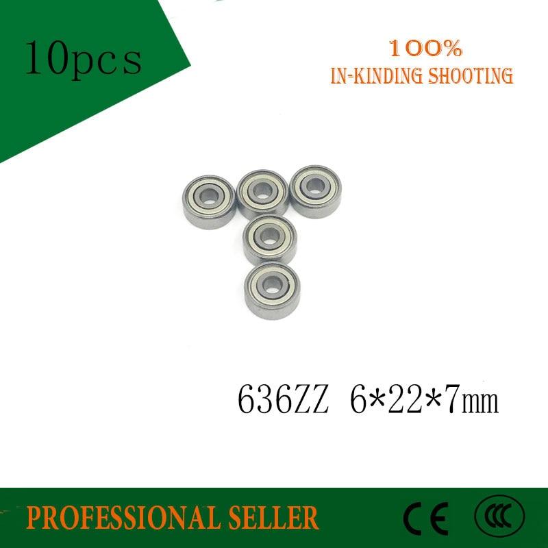 10pcs/Lot 636ZZ 636 ZZ 6x22x7mm Mini Ball Bearing Miniature Bearing Deep Groove Ball Bearing