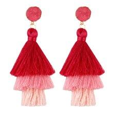 Newest Fashion Women Simple Temperament 3-Layer Long Tassel Earrings Bohemian Dangle Drop Tiered Stud Jewelry M16
