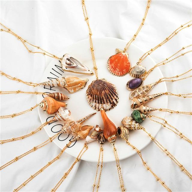 20 Styles Seashell Pendants Initial Necklace female Statement Jewlery 3