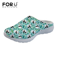 FORUDESIGNS Panda/Iguana/Manatee Party Print Mesh Sandals Women Breathable Summer Flats Light Weight Ladies House Slippers Shoes