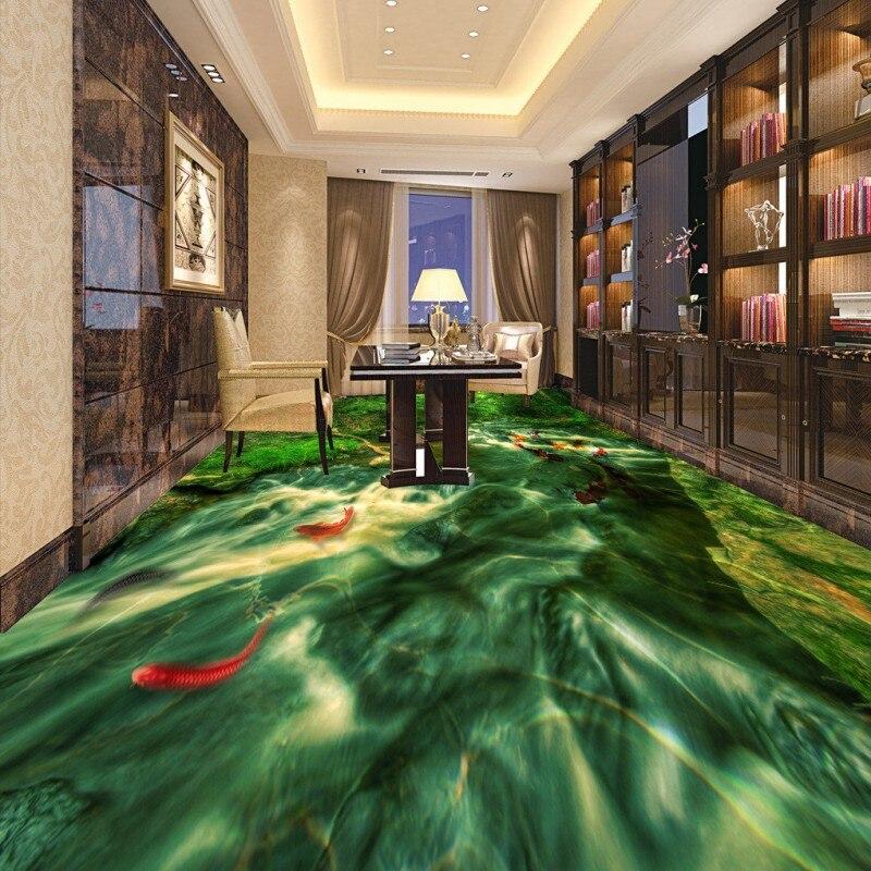 ФОТО Free Shipping Forest river carp flooring painting bathroom tea house decoration self-adhesive floor mural
