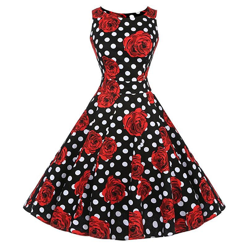 Kostlish Cotton Summer Dress Women 2017 Sleeveless Tunic 50s Vintage Dress Belt Elegant Print Rockabilly Party Dresses Sundress (91)