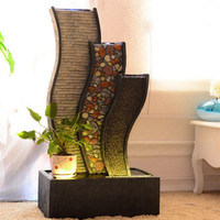 Water Curtain Wall Fountain Water Landscape Furnishings Creative Wind Turbine Home Room Interior Decoration Resin Crafts