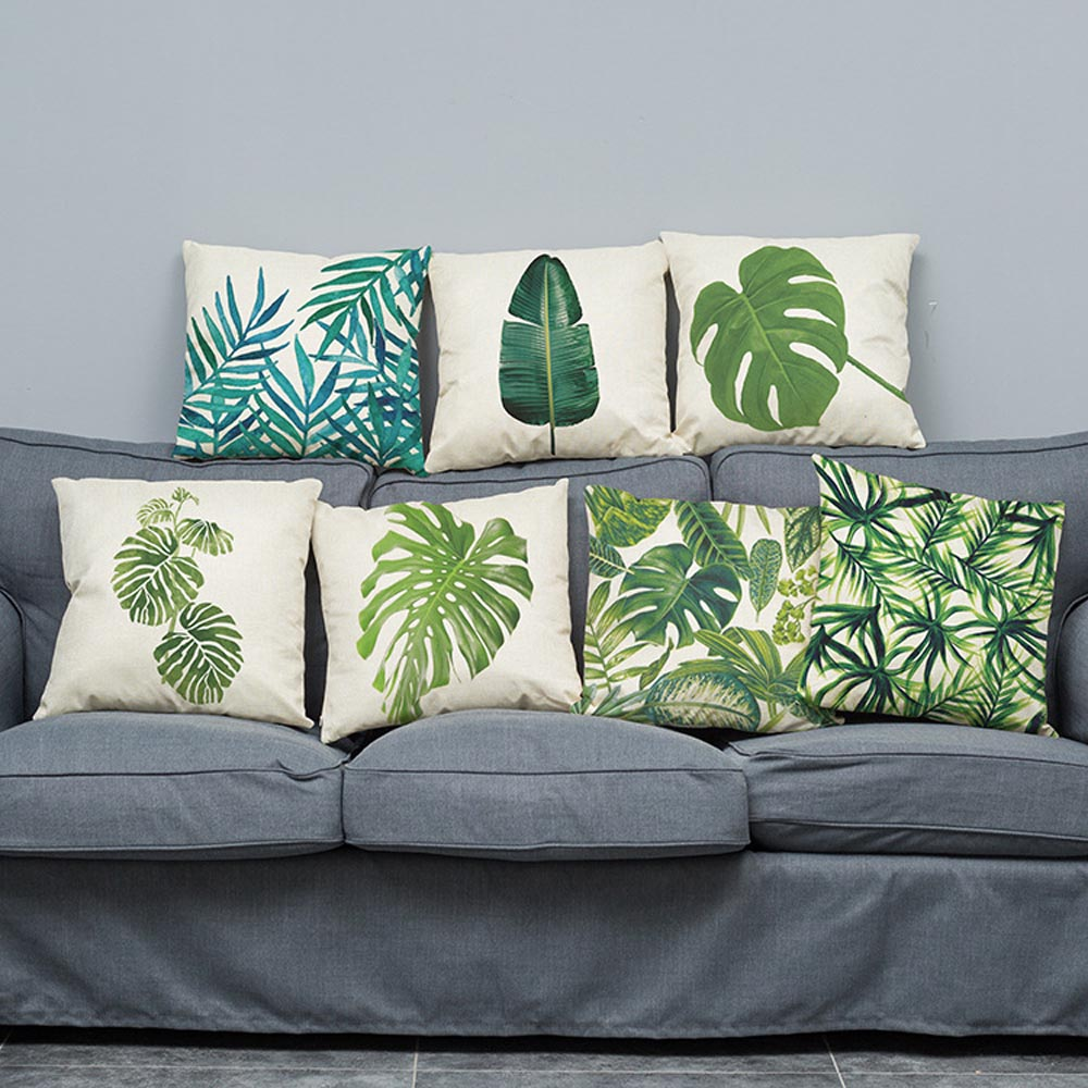 45x45cm Leaves Printed Cushion Cover Tropical Series Home Sofa Decorative Pillowcase Office Car Chair Seat Throw Pillow Cover