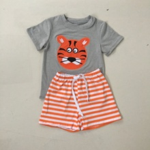 Puresun Football Season Cotton Baby Boys Boutique Clothing Set Fashion Embrodery Tops Striped Shorts Kids Outfits