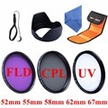 52mm 55mm 58mm 62mm 67mm Filter CPL UV FLD MCUV Camera Filter Kit+Lens HoodFilter Bag&Cloth For Canon EOS Nikon Sony DSLR Camera