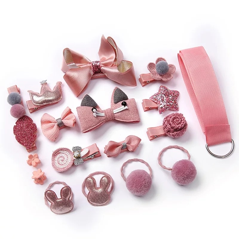 18/24 Pcs Baby Hair Clips Set Accessories Cross Kid Hair Clip Set Cartoon Girl Hair Clips Accessories Baby Headband