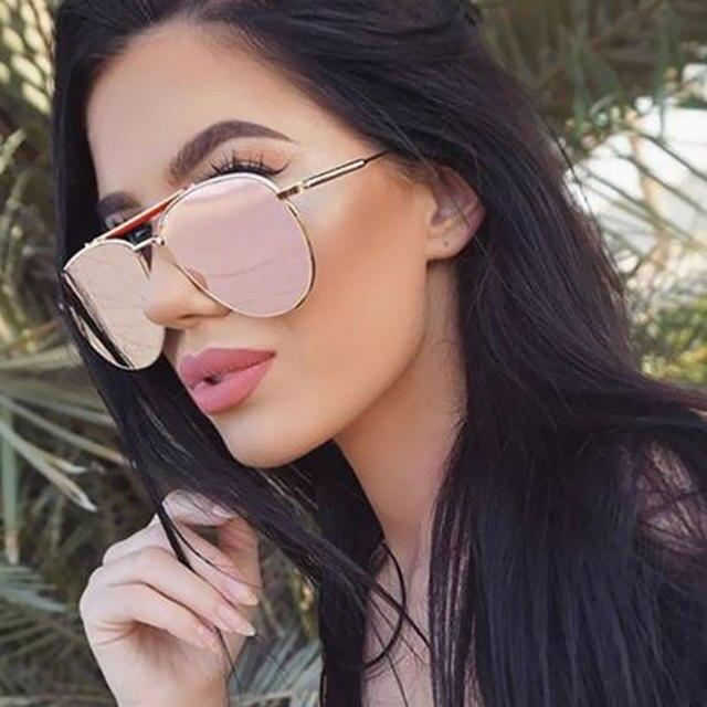 4a20546859 Fanqce moda 2017 revestimiento espejo Sol Gafas mujeres metal lente plana  Gafas de sol hombres marrón