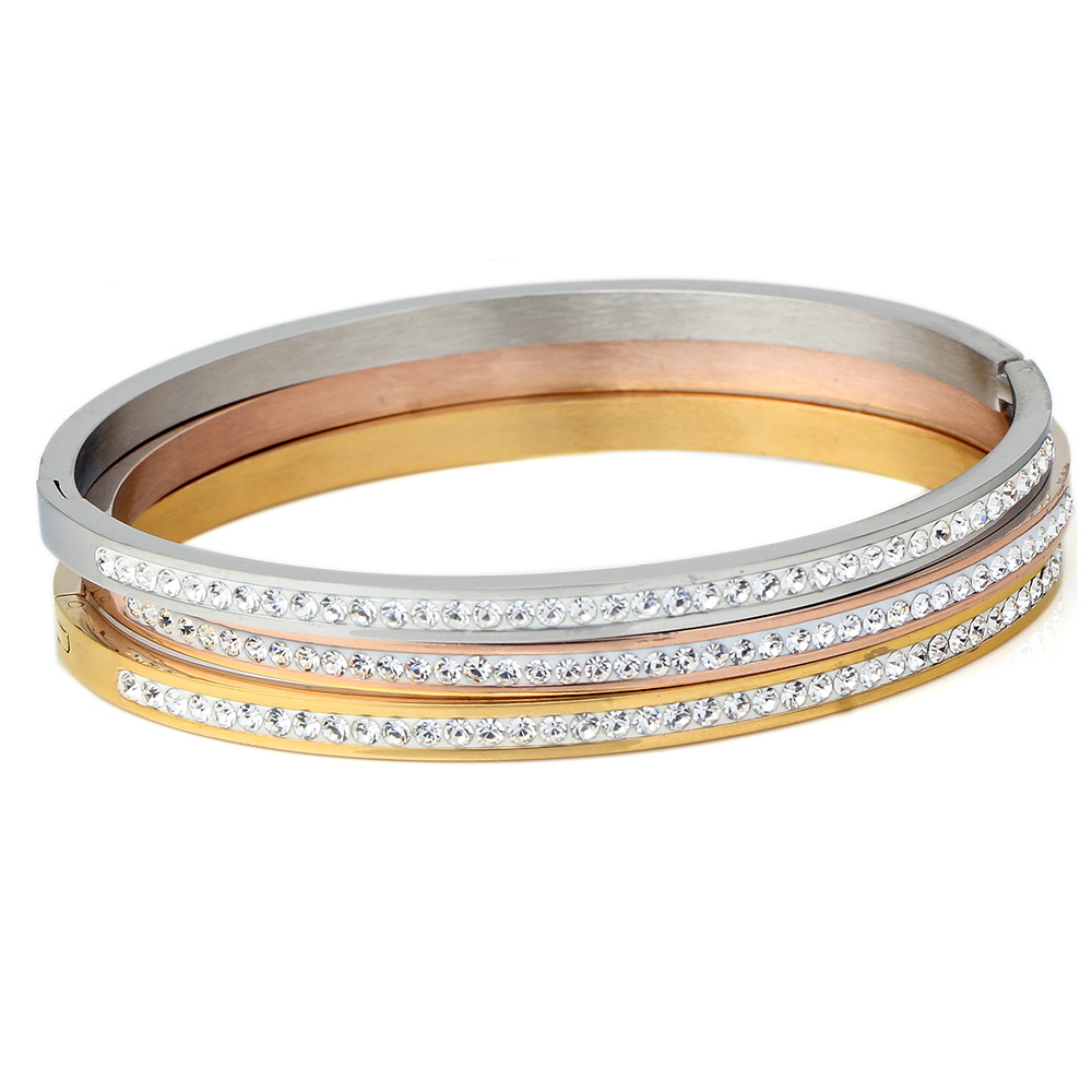 Fashion Jewelry Bangle Bracelets With Two Line Crystal Rhinestone Pave Stainless Steel Opening Bangle For Women Accessories