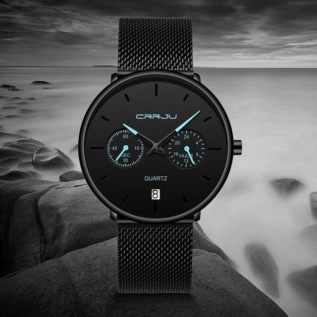 Mens Watches CRRJU Full Steel Casual Waterproof Watch 5