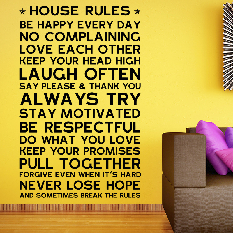 House Rules Wall Sticker English Version Family Quote Home Decor ...