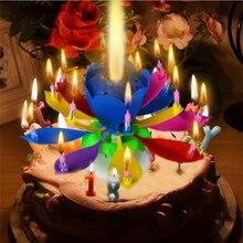 1 шт. удивительные два слоя с 14 маленьких свечей лотоса с днем рождения спин пение Романтический музыкальный цветок вечерние светильник свечи