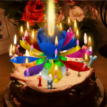 1pcs Amazing Two Layers with 14 Small Candles Lotus Happy Birthday Spin Singing Romantic Musical Flower Party Light Candles
