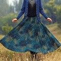Por Encargo de Otoño E Invierno de Cintura Alta Falda de Las Mujeres Más Tamaño Engrosamiento de La Moda de Impresión Inferior de la Extensión Faldas