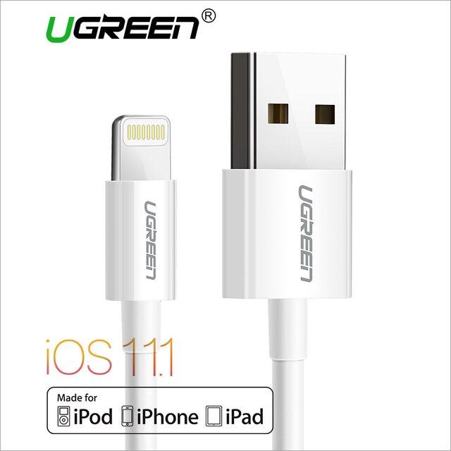 Ugreen USBสายเคเบิ้ลสำหรับip hone 8 2.4A MFiสายฟ้าสายเคเบิลUSBอย่างรวดเร็วชาร์จสายเคเบิลข้อมูลสำหรับiPhone 7 6 5วินาทีiPadโทรศัพท์มือถือสาย