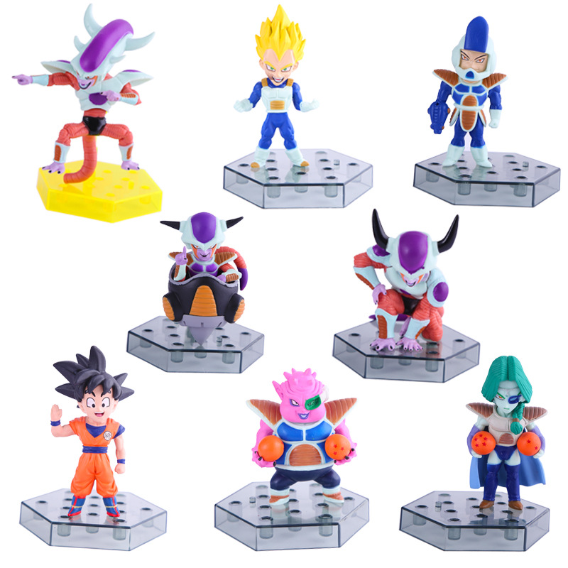 1 Set-8pc Dragon Ball Son Goku VEGETA Freeza Team Pvc Activity Action Figure Model Toy Diy Display Toy Cartoon Birthday Gift simulation mini golf course display toy set with golf club ball flag