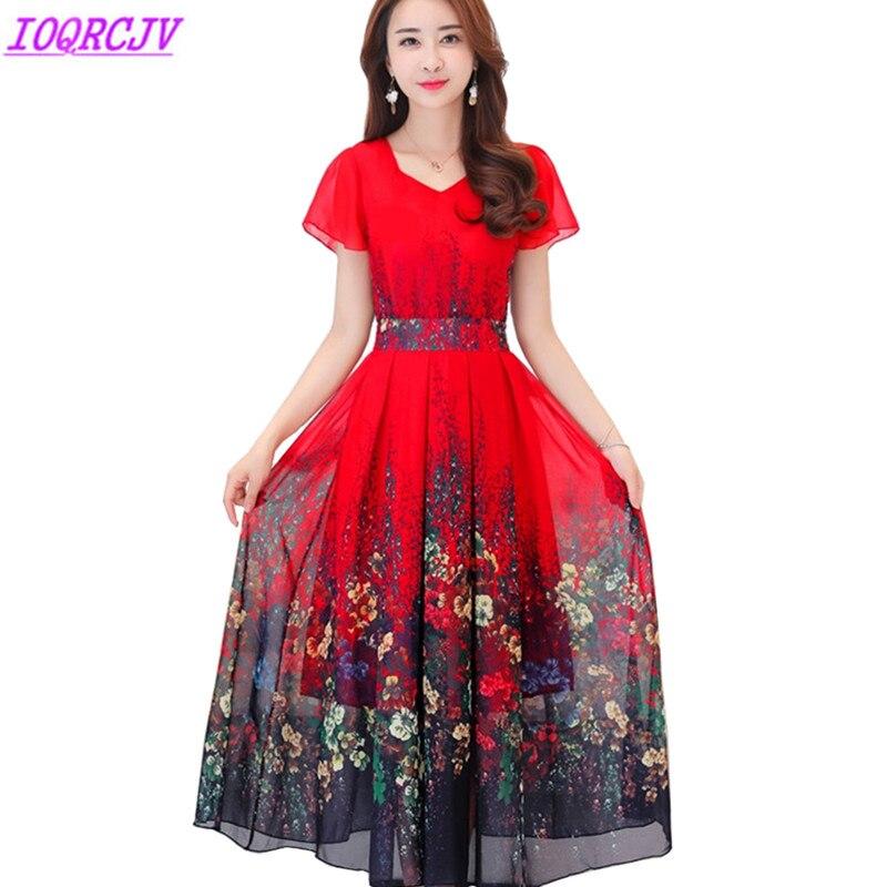 2018 Summer Women Silk Printed Dress Plus size 4XL Fashion Bohemian Long Dress Short sleeve Slim
