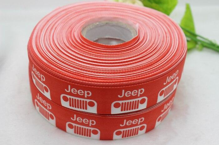 "NEW arrival 50yards/lot 1"" 25mm red cartoon jeep logo printed grosgrain ribbon"