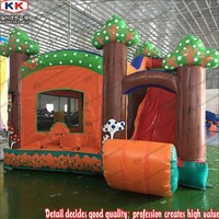5x5m Forest Theme inflatable bouncer and slide combo,zoo inflatable tree bouncer combo with slide