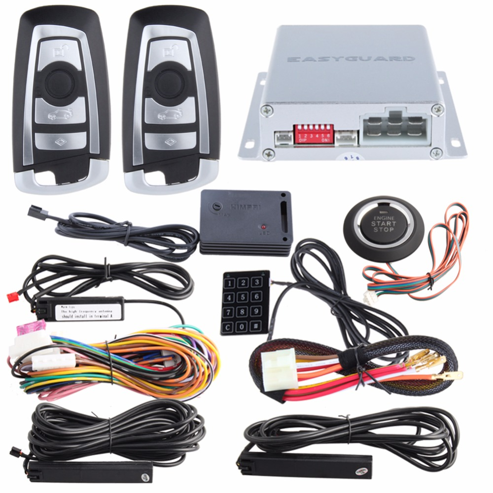 EASYGUARD PKE car alarm system hopping code remote start stop push start button touch password entry shock sensor alarm DC12V easyguard pke car alarm system remote engine start push button start stop shock alarm remote trunk release lock unlock