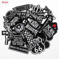 Punkers moto équitation lettres Patch noir étiquettes fer sur badges autocollants Applique pour veste Jeans sac à dos