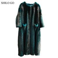SHILO GO Fur Coat Womens Winter Fashion Whole Real Mink Fur X Long Coat O Neck