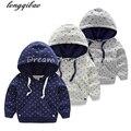 Alta calidad 2017 muchachas de los bebés visten suéter de manga larga espesada hoodied suéter 2-14 Años el envío libre