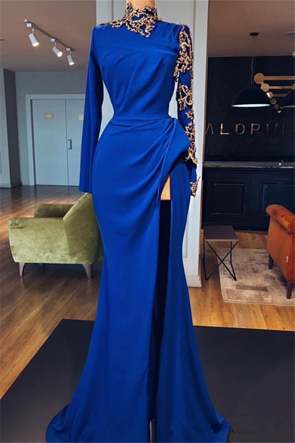 Royal Blue Robe De Soiree 2019 Mermaid Long Sleeves Appliques Beaded Slit Sexy Long   Prom     Dresses     Prom   Gown Evening   Dresses