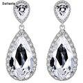 Luxuoso Grande Gota de Cristal de Zircão Brincos De Noiva Casamento Jóias Acessórios Presente Para A Esposa Menina