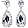 Luxurious Big Drop Zircon Crystal Earrings Bridal Wedding Jewelry Accessories Gift For Wife Girl