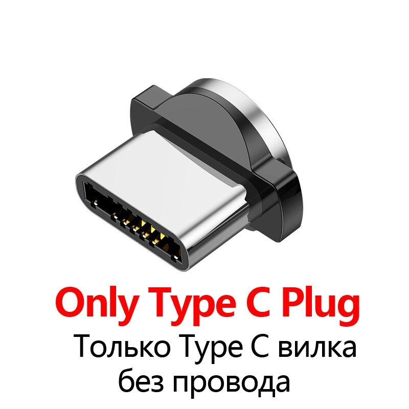 USLION 2m 3A Магнитный usb-кабель для быстрой зарядки для iPhone 11 Pro Android шнур для телефона type C кабель магнитное зарядное устройство Micro USB кабель - Цвет: Type C Plug