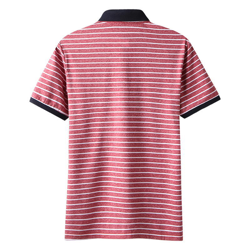 High Quality Polos Men Cotton 2019 Summer New Short Fashion Korean Style Striped Polo Shirts Male Quick Dry MuLS Brand Red Grey 2