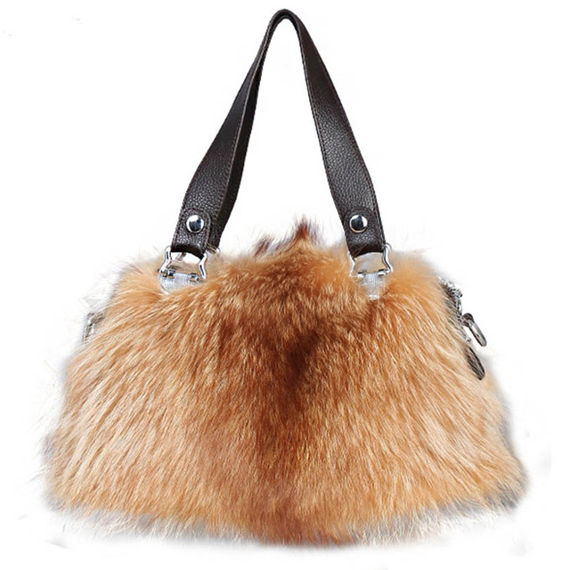 Real Genuine Fox Fur Handbags Fashion Women Winter Luxury Bag Shoulder Bags Bolsa Feminine Bao