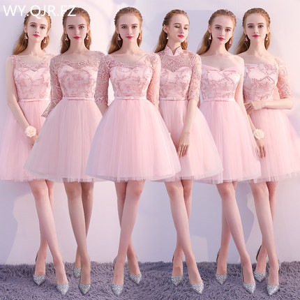 PTH-KBS#Peach pink Boat Neck short lace up Bridesmaid Dresses A-Line wedding party promdress girl summer wholesale Yarn skirt